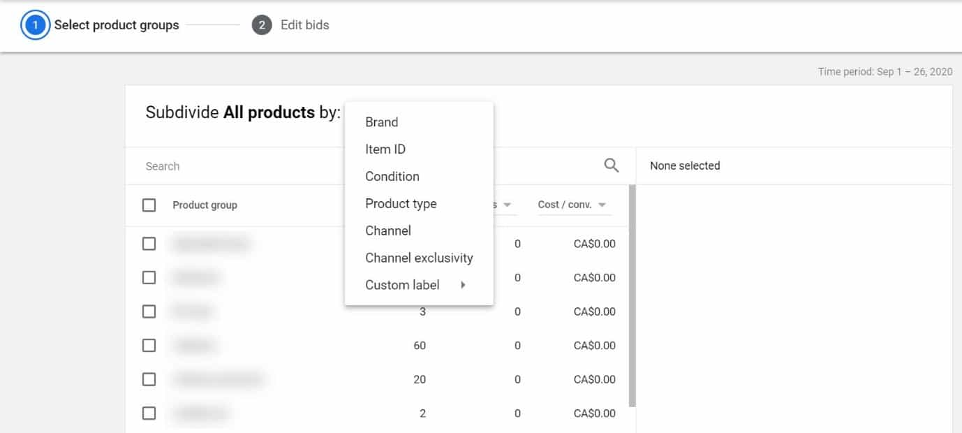 segment product groups in google shopping