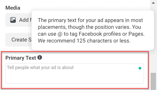 facebook ads primary text section in ads manager